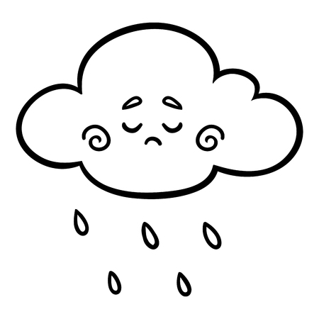 Coloring book for children, Rain cloud with a cute face Illustration