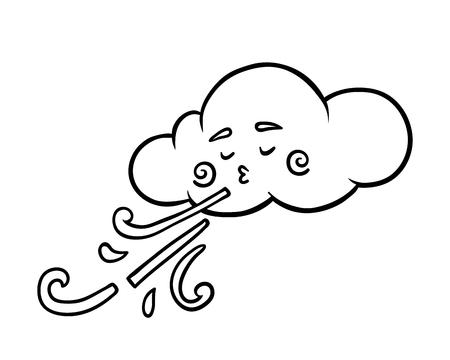 Libro da colorare per bambini, nuvola e vento