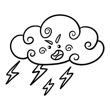 Coloring book for children, Thundercloud with lightning and raindrops