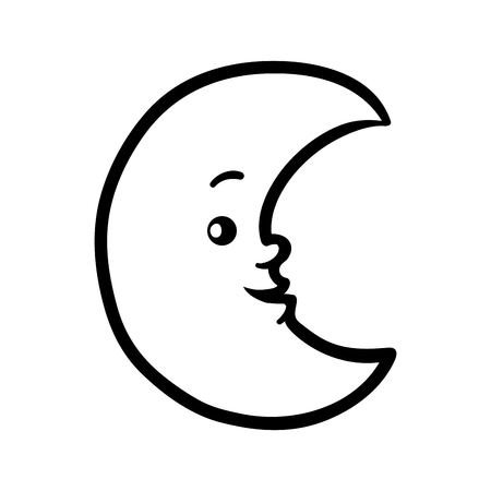 Coloring book for children, Crescent with a cute face