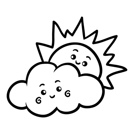 Coloring book for children, Sun and cloud with a cute face