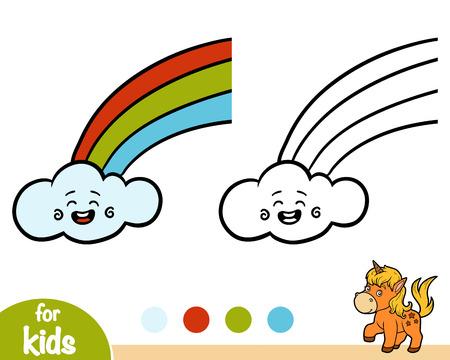 Coloring book for children, Rainbow and cloud Ilustração