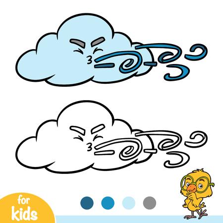 Coloring book for children, Cloud and wind Ilustração