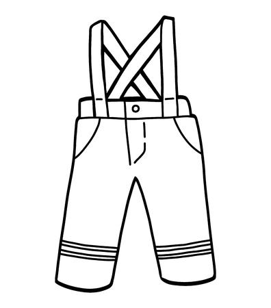 Libro de colorear para niños, Pantalones impermeables. Ilustración de vector