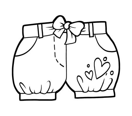 Livre de coloriage pour enfants, shorts pour enfants Vecteurs