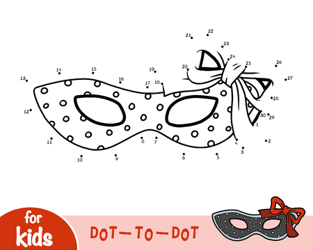 Numbers game, education dot to dot game for children, Carnival polka dot mask with bow Stock Illustratie