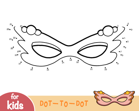 Numbers game, education dot to dot game for children, Carnival mask
