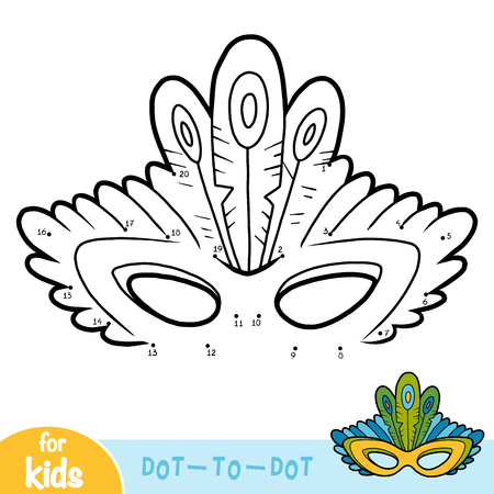 Numbers game, education dot to dot game for children, Carnival mask with peacock feathers Stock Illustratie