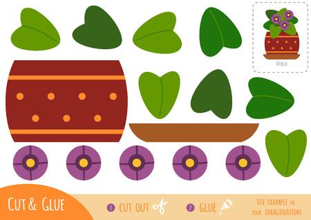 Education paper game for children, Houseplant, Viola plant. Use scissors and glue to create the image. Vektorgrafik
