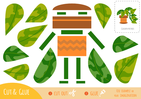 Education paper game for children, Houseplant, Golden pothos. Use scissors and glue to create the image.