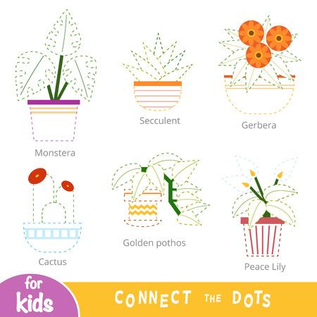 Verbinden Sie die Punkte, Bildungsspiel für Kinder. Set Zimmerpflanzen - Sukkulente, Kaktus, Friedenslilie, Gerbera, Golden Pothos, Monstera