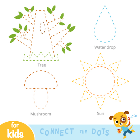 Connect the dots, education game for children. Set of nature items - Tree, Mushroom, Water drop, Sun