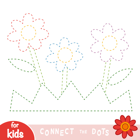 Connect the dots, education game for children, Flowers and grass