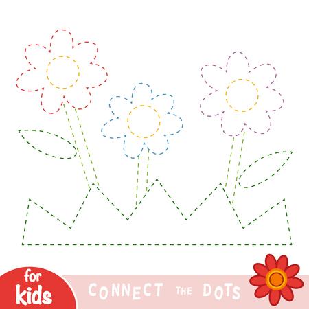 Reliez les points, jeu éducatif pour les enfants, Fleurs et herbe