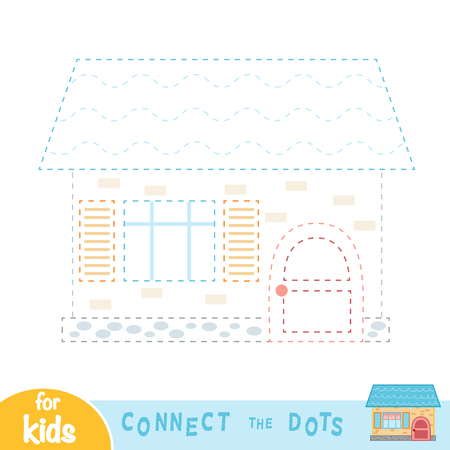 Connect the dots, education game for children, House