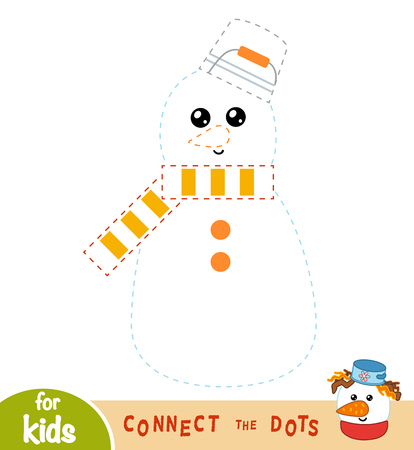 Connect the dots, education game for children, Snowman