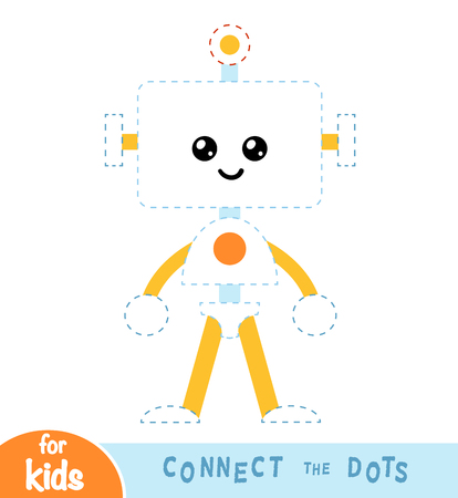 Connect the dots, education game for children, Robot