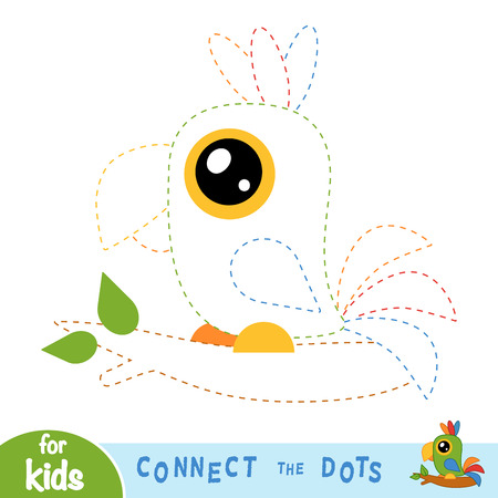Connect the dots, education game for children, Parrot