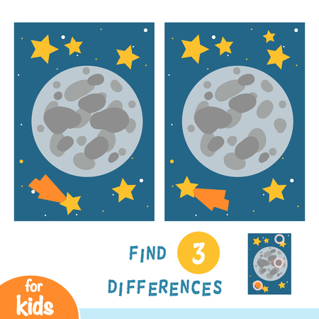 Find differences, education game for children, Moon and stars in space Illustration