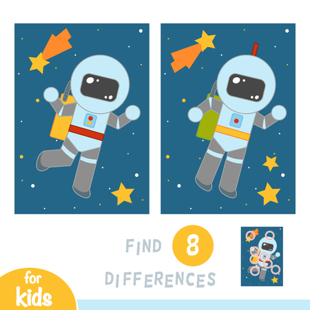 Find differences, education game for children, Astronaut in space Illustration