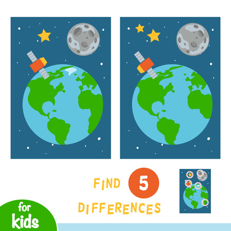 Find differences, education game for children, Earth Moon and satellite