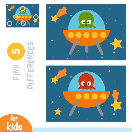 Find differences, education game for children, UFO in space