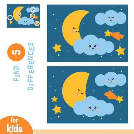 Find differences, education game for children, Night sky with moon and stars Illustration