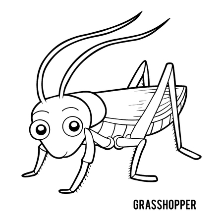 Coloring book for children, Grasshopper 일러스트