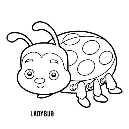 Coloring book for children, Ladybug Vektorové ilustrace