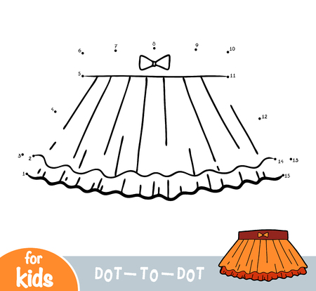 Numbers game, education dot to dot game for children, Ruffled skirt