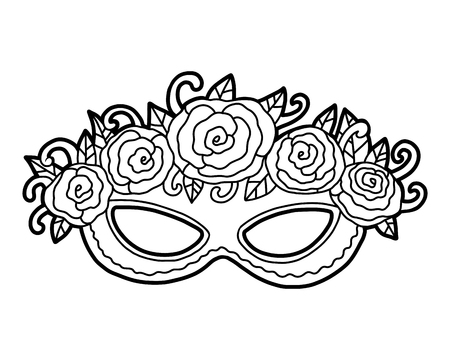 Coloring book for children, Carnival mask with roses