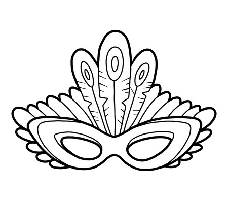 Coloring book for children, Carnival mask with peacock feathers