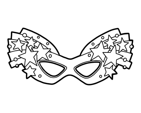 Coloring book for children, Carnival mask with stars Illustration