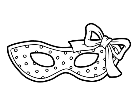 Coloring book for children, Carnival polka dot mask with bow