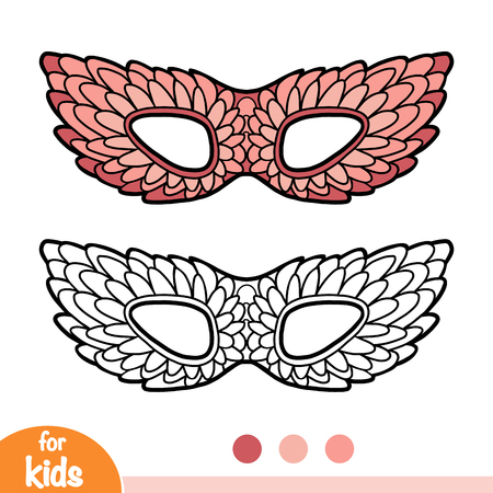 Coloring book for children, Carnival mask with feathers