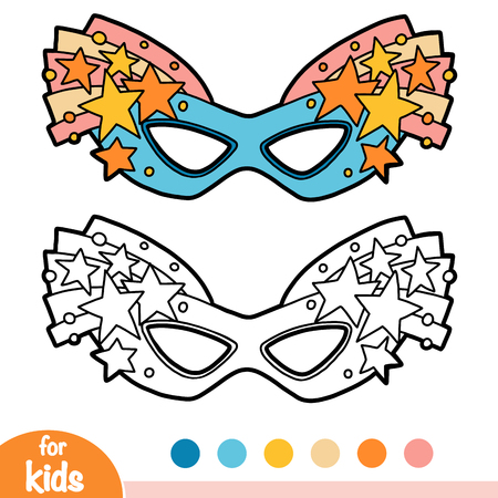 Coloring book for children, Carnival mask with stars Stock Illustratie