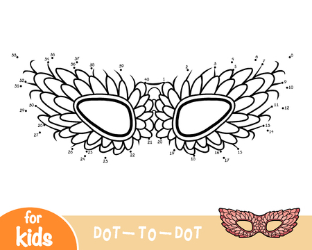 Numbers game, education dot to dot game for children, Carnival mask with feathers