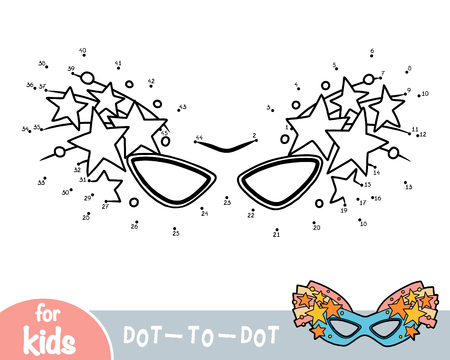Numbers game, education dot to dot game for children, Carnival mask with stars Stock Illustratie