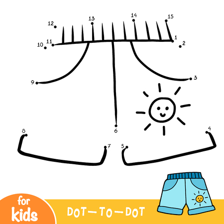 Numbers game, education dot to dot game for children, Kids shorts