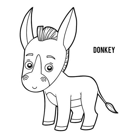 Livre de coloriage pour des enfants, âne Vecteurs