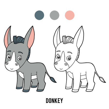 Coloring book for children, Donkey Vectores