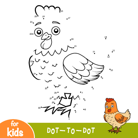 Numbers game, education dot to dot game for children, Chicken