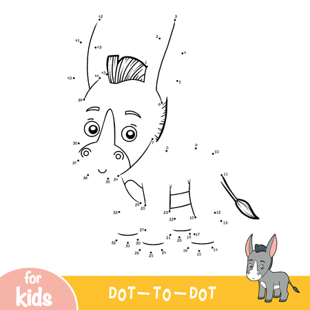 Numbers game, education dot to dot game for children, Donkey