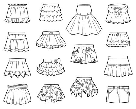 Vector set of skirts, black and white collection of cartoon clothes