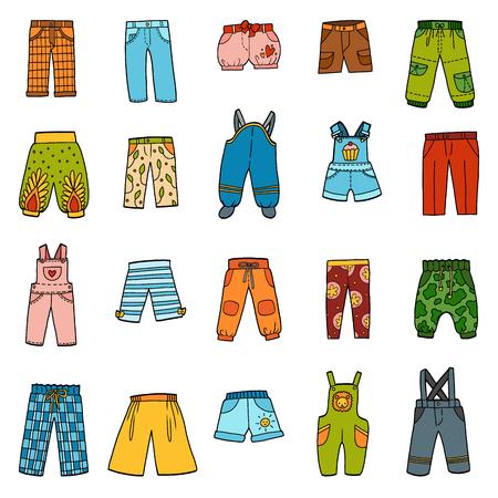 Conjunto de vector de pantalones, colección de colores de pantalones y monos de dibujos animados