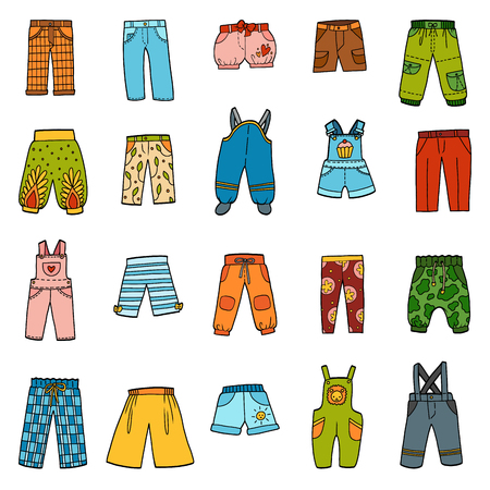 Vector set of pants, color collection of cartoon trousers and overalls