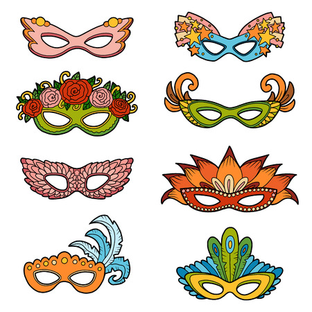Vector set of carnival masks, color collection of cartoon accessories Stock Illustratie