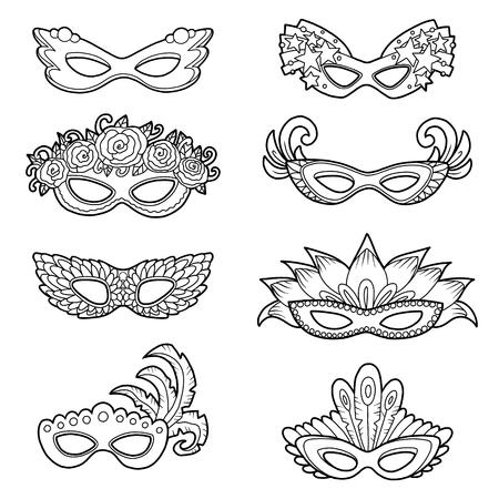 Vector conjunto de máscaras de carnaval, colección en blanco y negro de accesorios de dibujos animados