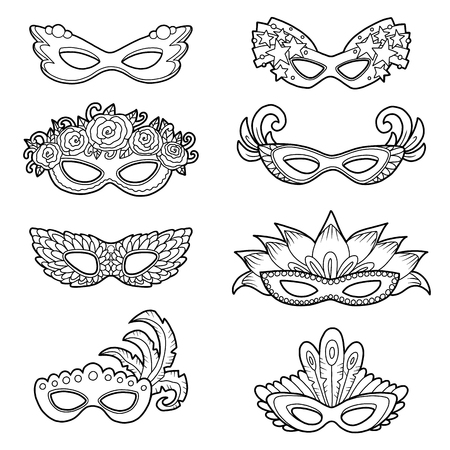 Vector set of carnival masks, black and white collection of cartoon accessories