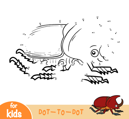 Numbers game, education dot to dot game for children, Rhinoceros beetle